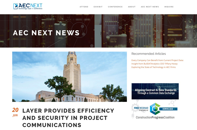 Layer featured in AEC Next News