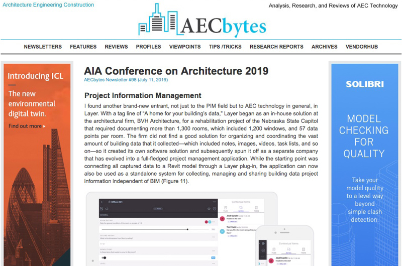 Layer featured in AEC Bytes' List of Notable Software at A'19